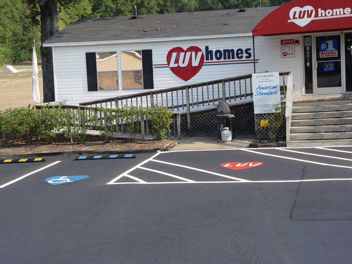 Line striping and stenciling for LUV Homes