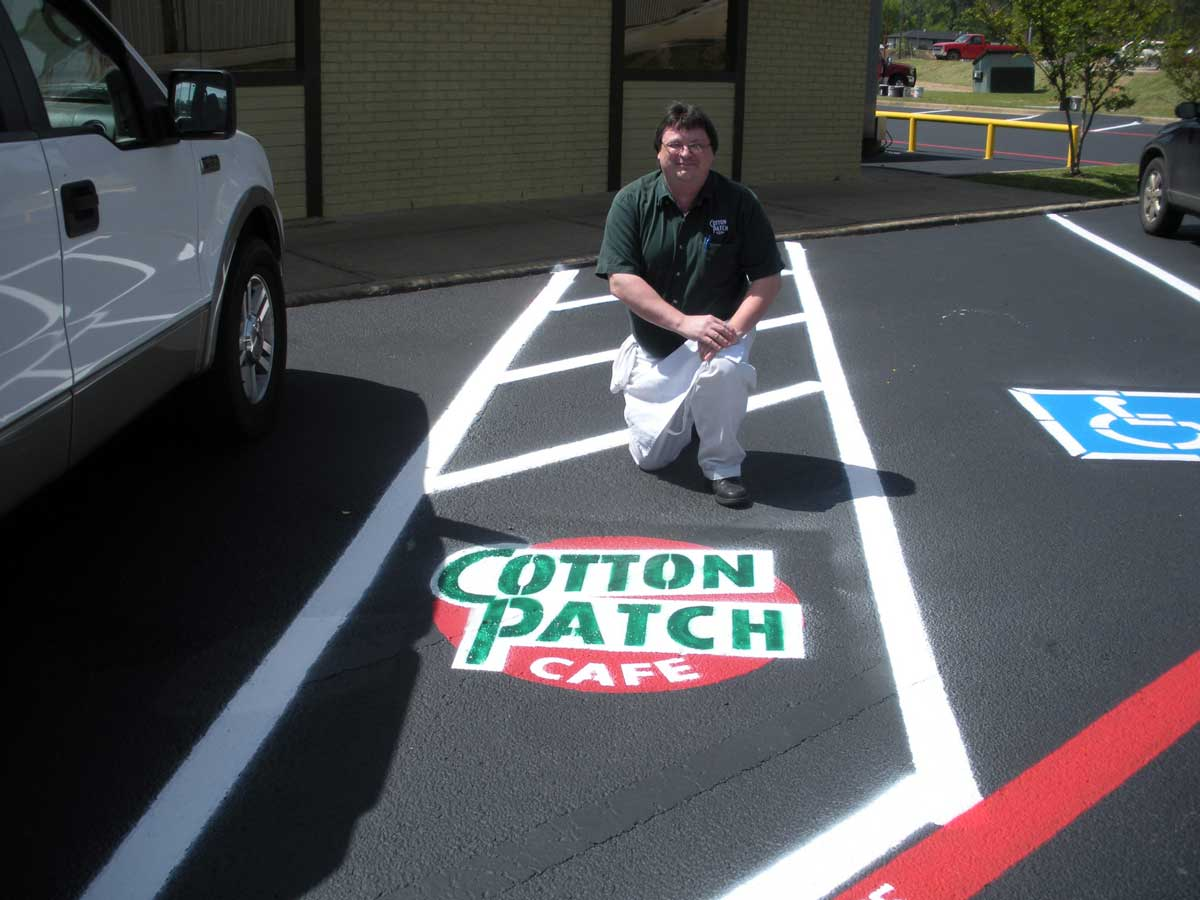 Line striping and stenciling for Cotton Patch Cafe