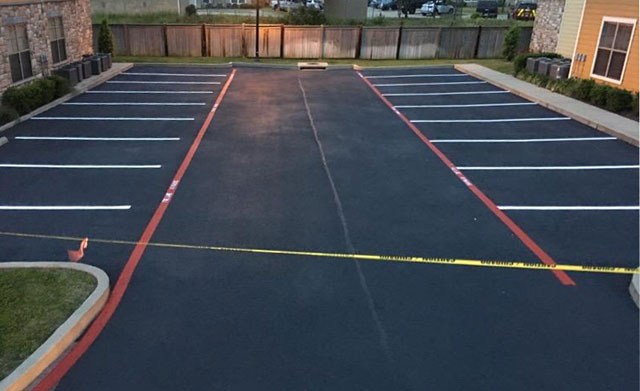 Rader Funeral Home parking lot after Pro-Pave sealcoating and striping