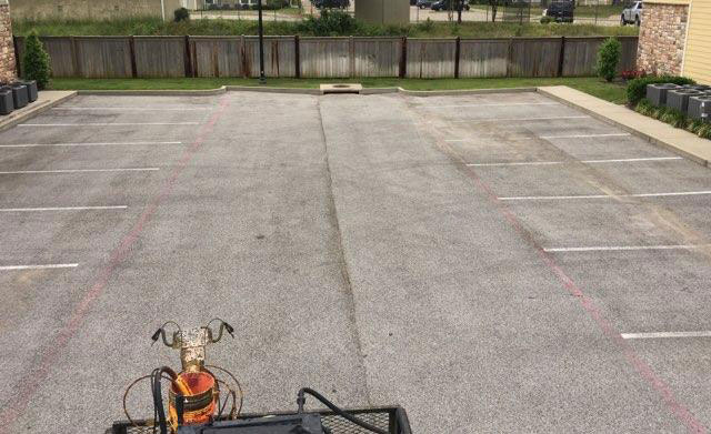 Rader Funeral Home parking lot before Pro-Pave sealcoating and striping